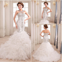Wholesale 2016 Wonderful Mermaid Wedding Dresses Exqusite Glamorous Ruffle Beaded Feather Pleats Fashion Mermaid bride dresses wedding gown