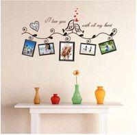 photo frame - Love Birds Photo Frame Romantic Hearts Wall Stickers Room Decor Decals Art Vinyl DH04