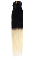 "Ombre Remy human human hair 18"" 7pcs set Clip- in hair H..."