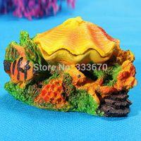 Wholesale Colourful Closing Shell Fish Tank oxygen Air Pump Aquarium Decor Ornament Home