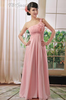 Cheap Reference Images Bridesmaid Dress Best Ruffle One-Shoulder Custom Made