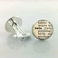 Unisex alloy dictionary - J8 Dictionary cufflinks Twin Sister Jewelry Definition cufflinks cufflinks Gift for Twin Handmade Jewelry Cuff Links