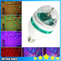 Wholesale DHL Free W E27 RGB lighting Full Color LED Crystal Stage Light Auto Rotating Stage Effect DJ lamp mini Stage Light Bulb Allfivestars