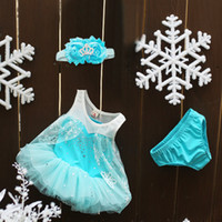 Girl Summer Sleeveless Frozen Baby Suits Kids 3pcs set Outfits Infant Clothing Baby Headbands Elsa Lace Dresses Girls Briefs Child Suit Kids Sets Toddler Clothes