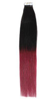 "1sets 18"" ombre remy tape skin hair extensions #1B Bug,..."