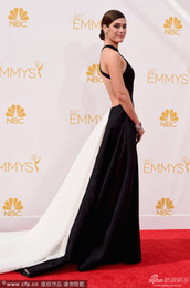 Wholesale 2014 Emmy Awards Lizzy Caplan sheath Halter satin cathedral train Sexy Red Carpet Celebrity Dresses Custom Made Size Colors