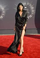 V-Neck best celebrity fashion - Best Dressed On The MTV VMAs Red Carpet Kylie Jenner Celebrity Dress Satin Evening Gowns Split Side