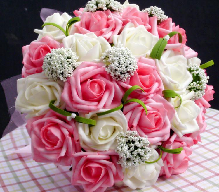 2014 new arrival romantic wedding colorful bride 39 s bouquet red pink blue - Bouquet de rose artificielle ...