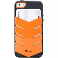 For Apple iPhone Plastic PC Alcoco Wallet Credit Card Slot Holder Case Kickstand Cover for Apple Iphone 5 5S Hard Plastic Shell Fashion Arrow Design Dual Color Skin