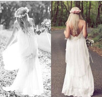 A-Line Reference Images Spaghetti Romantic White 2014 Boho Cheap Spaghetti Lace Wedding Ball Dresses Bohemian Vintage Beach Sexy Long Party Bridal Gowns Dress Simple SK