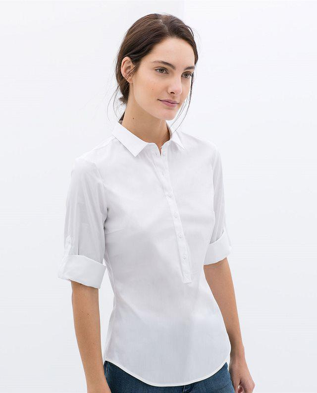 White Office Blouses - Long Sleeved Blouse