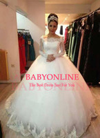 Wholesale 2015 Newest Off The Shoulder Ball Gown Wedding Dresses Fall Winter With Long Sleeves Church Sheer Wedding Dress lace Bridal Gown BO6627
