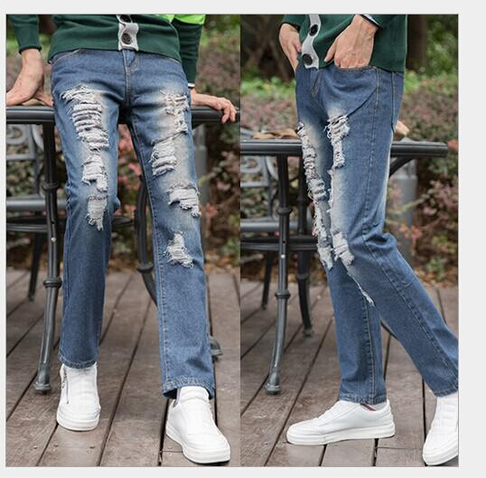 2017 Man Straight Leg Pants Male Jeans Ripped Jeans From ...