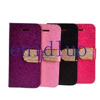 For Apple iPhone Leather Black Luxury Bling Diamond Wallet Stand Case With Credit Card Slot for iphone 5 5S Magnetic Flip Leather Case