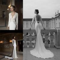 Cheap Trumpet/Mermaid Long Sleeve Wedding Dress2015 V-Neck Wedding Dresses2015 Hollow Beach Wedding Dress Best Reference Images V-Neck wedding dresses