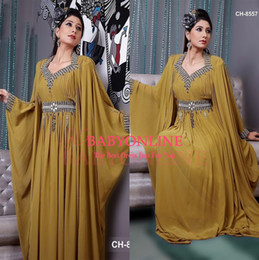Wholesale Silver Formal Dresses For Sale - Hot Sale For Dubai Arabia V Neck Sheath Chiffon Formal Evening Dresses Crystal With beaded Long Sleeves Prom Gowns Celebrity Dress BO6598