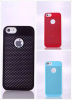 For Apple iPhone Plastic PC+TPU Credit Card Holder Case with Cooling Hole Vents Hard Plastic Cover PC + TPU Shell For Apple Iphone 5 5S with Rear Logo Ring Retail Package