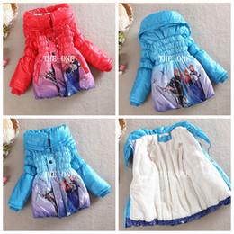 Wholesale frozen clothing coats girls winter warm Coat for girls long cotton padded jacket warm frozen princess winter coats girl kids wool coat