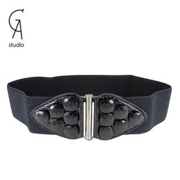 Wholesale 2014 New Fashion Accessories white black elastic resin stone leather belt women vintage Girdle belts for women
