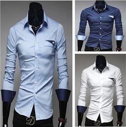 Wholesale Brand New Mens Shirts Casual Plaid Men s Dress Shirts Mens Slim Fit Unique Neckline Stylish Long Sleeve Shirts High Quality