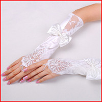 Wholesale Kid child flower girl white long gloves student lace glove costume dancing glove