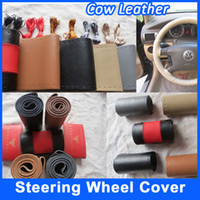 Wholesale Genuine Cow Leather DIY Car Steering Wheel Cover Sizes cm Colors Hand Sewing With Needles Steering Wheel Cover