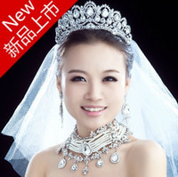 Wholesale Large Sparkling crystal tiaras crown bridal jewerly wedding accessory hair jewerly hairwear princess hairwear