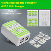 Cheap Universal Chargers 4 USB port Best Universal For Korea/ China 6 kinds replaceable plugs