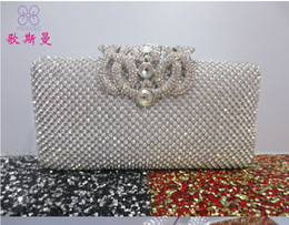 Wholesale New Arrival Europe and the United banquet bag full diamond crown crystal hand bags clutch evening Party bridal bag wedding package