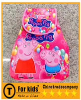 Wholesale 2014 peppa pig kids gift sister pink pig cartoon Children s backpack Non woven fabric printing new multifunction backpack Fashion Bags