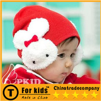 Wholesale Red Rabbit Crochet The rabbit head baby hats Ear protection to keep warm Cartoon set dear knitting to winter Three colors together