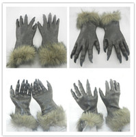Wholesale Hot selling Creepy Wolf Gloves Christmas Costume Theater Prop Novelty Latex Rubber Super