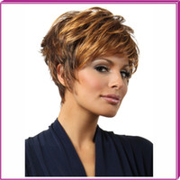 Cheap New Stylish Heat Resistant Brown Short Wavy Lady's Fashion Sexy Party Cosplay Synthetic Hair Wig Wigs