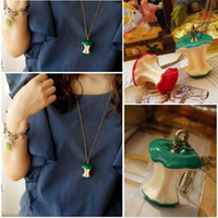 Pendant Necklaces Women's A1601 Fashion Vintage Style Green&Red Apple Shape Pendant Fruit Necklace Jewelry,Free shipping A1601