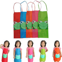 Wholesale New Cute Kids Child Children Waterproof Apron Cartoon Frog Printed Painting Cooking Apron