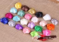 Wholesale 40pcs quot Mini Satin Ribbon Rose Flowers Flat Back DIY Photo Props Baby Headbands Accessories