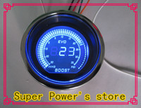 Wholesale NEW quot mm EVO LCD Digital Boost gauge In Hg Psi reaing Auto gauge Auto meter tachometer Car Meter Color Red and Blue