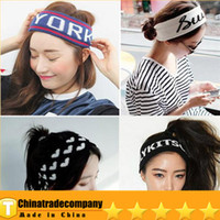 Wholesale 2014 Black Crochet Headband New York Sports Personality Knitting Wool Elastic Super Wide Hair With Hair Hoop Tide Female Version