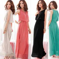 Casual Dresses Sleeveless Ankle-Length Ladies Chiffon Sleeveless Pleated Long Sundress Boho Maxi Dress