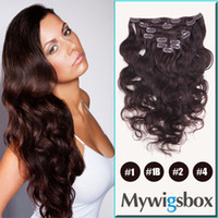 Wholesale Clip in Brazilian Human Hair Extension Mywigsbox Products B Brazilian Remy Hair Clip In On Hair Extensions set Body Wave Weft g