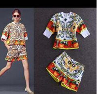 Casual Dresses Flora Printed Dresses Autumn 2014 Early Autumn Fashion Sicilian Style Casual Comfortable Half Fruits Print Sleeve Blouse + Mini Pants 2 Pieces Dresses