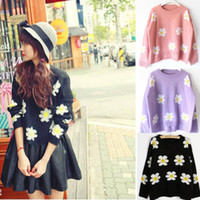 Women Short V-Neck New Casual Pullover Women Ladies Daisy Sunflower Short Sweater Coat Top Jumper Free Shipping
