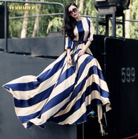 Wholesale Verragee Summer women chiffon maxi long dresses new fashion floor length plus size stripped print vintage neck dress