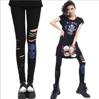 Cotton blend Low Casual Hip-Hop Fashion Women's Clothing Casual Punk Skull Split Leggings Shiny Tights PantS Stretch Trousers Feet New