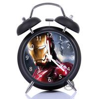 Wholesale fashion Quality Avengers iron man diy clock dest table clock glass face picture inside metal Paint alarm colck