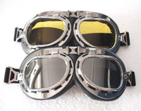 Unisex atv wear - 2 WWII Motorcycle Goggles UV Cycling Plating Silver Frame Silver Yellow Lenses ATV Glasses Cruiser Helmet Eye wear T A