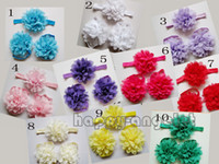Hair Bows baby triple - 60pcs sets Baby handmade Headband Head Flower Hand feet Flowers combination Accessories triple Fashion feet Flower Bands ZHT3401