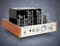 Wholesale 1pcs DHL Ms d hifi tube amplifier audio power amplifier wooden frame brushed metal front panel