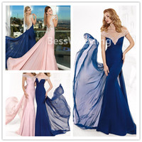 Reference Images V-Neck Chiffon Charming 2014 Tarik Ediz Mermaid Evening Dresses With V-Neckline And Flutter Beaded Court Train Prom Dress Hot Sale Chiffon Sexy Party Gowns