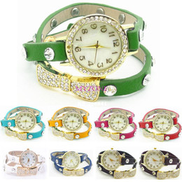Wholesale Bronze ladies quartz watches Vine Watch Long leather Strap Casual Watches Bowknot Crystal dress watch